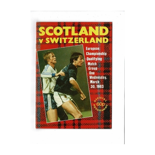 1983 Scotland v Switzerland Football Programme