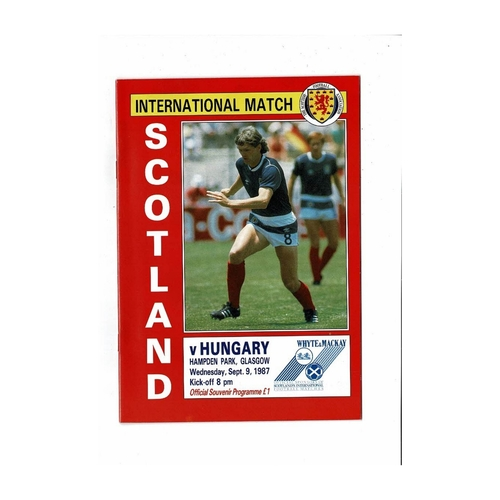 1987 Scotland v Hungary Football Programme