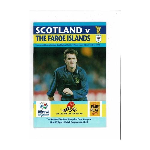 1994 Scotland v Faroe Islands Football Programme