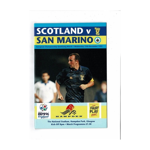 1995 Scotland v San Marino Football Programme