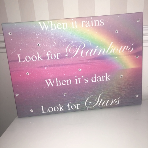 When Its Dark Look For Rainbows Glitter Canvas