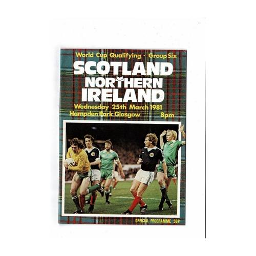 1981 Scotland v Northern Ireland World Cup Qualifier Football Programme