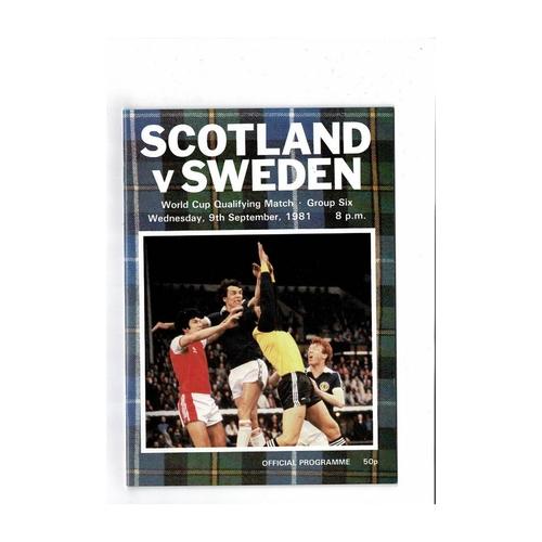 1981 Scotland v Sweden Football Programme