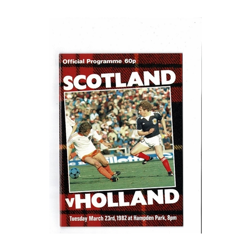 1982 Scotland v Holland Football Programme