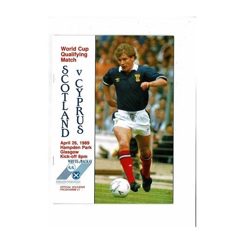 1989 Scotland v Cyprus Football Programme