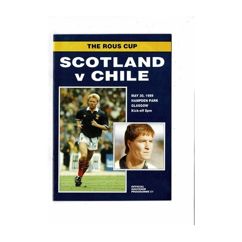 1989 Scotland v Chile Football Programme