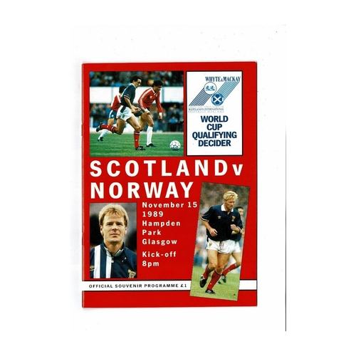 1989 Scotland v Norway Football Programme