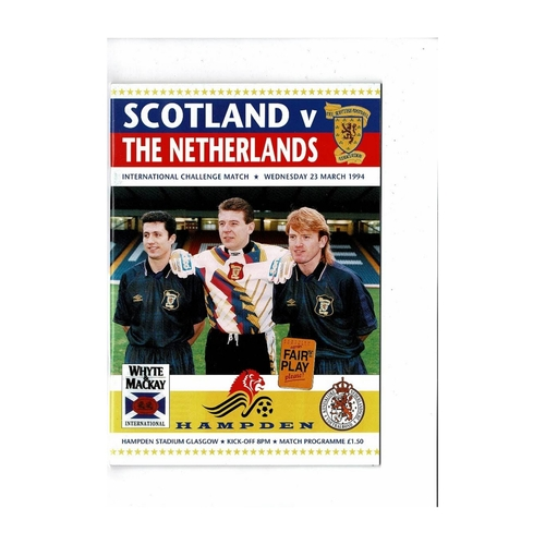 1994 Scotland v Holland Football Programme