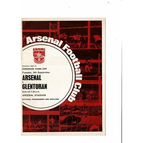 Arsenal v Glentoran Fairs Cup Football Programme 1969/70