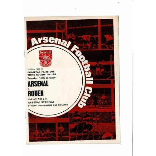 Arsenal v Rouen Fairs Cup Football Programme 1969/70