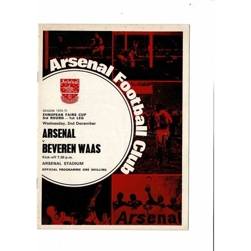 Arsenal v Beveren Waas Fairs Cup Football Programme 1970/71