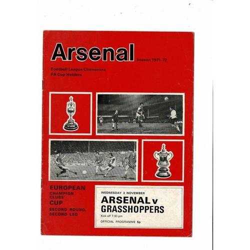 Arsenal v Grasshoppers European Cup Football Programme 1971/72
