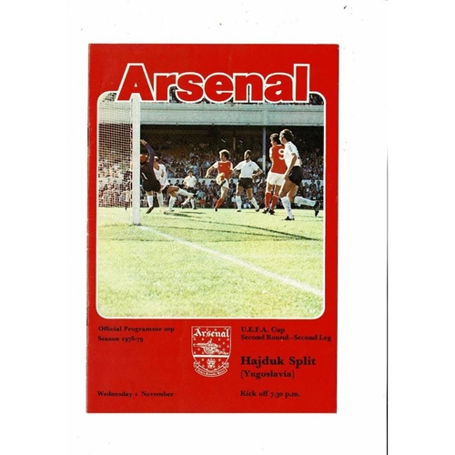 Arsenal v Hajduk Split UEFA Cup Football Programme 1978/79