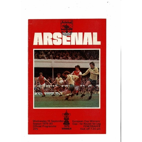 Arsenal v Fenerbahce European Cup Winners Cup Football Programme 1979/80