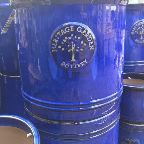 Woodlodge heritage 38cm cylinder pot blue