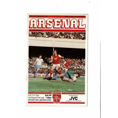 Arsenal v Spartak Moscow UEFA Cup Football Programme 1982/83