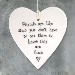 East Of India  Porcelain Hanging Heart-Friends are like stars
