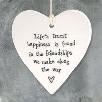 East Of India  Porcelain Hanging Heart-Life's Truest Happiness
