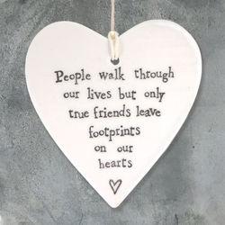 East Of India  Porcelain Hanging Heart-People Walk