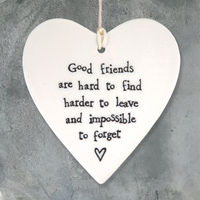 East Of India  Porcelain Hanging Heart-Good Friends