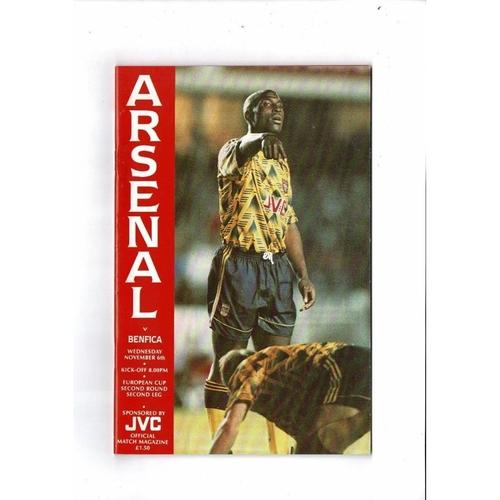 Arsenal v Benfica European Cup Football Programme 1991/92