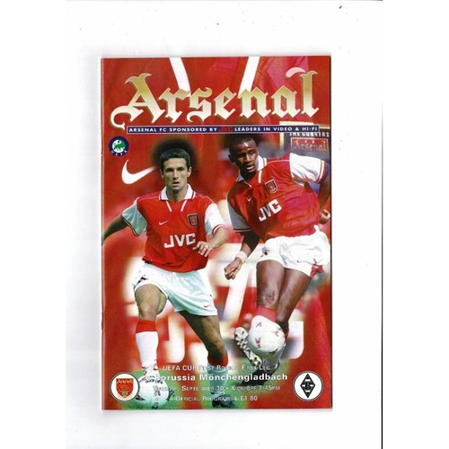 Arsenal v Borussia Monchengladbach UEFA Cup Football Programme 1996/97