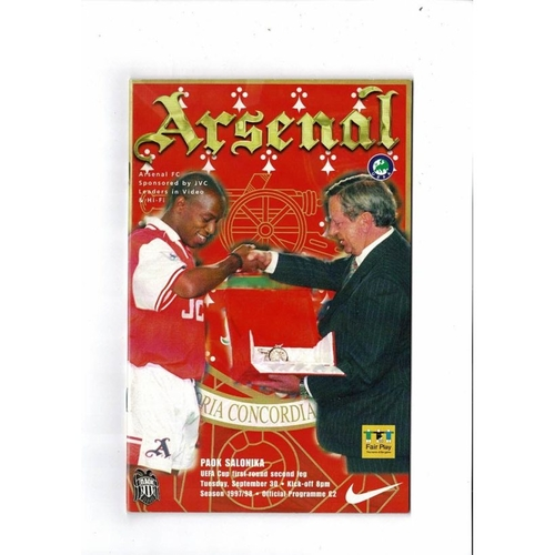 Arsenal v Salonika UEFA Cup Football Programme 1997/98