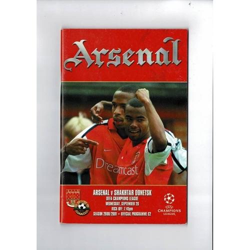 Arsenal v Shakhtar Champions League Football Programme 2000/01