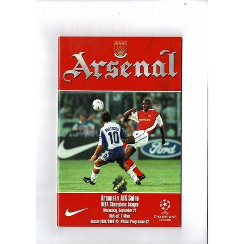 Arsenal v Solna Champions League Football Programme 1999/00