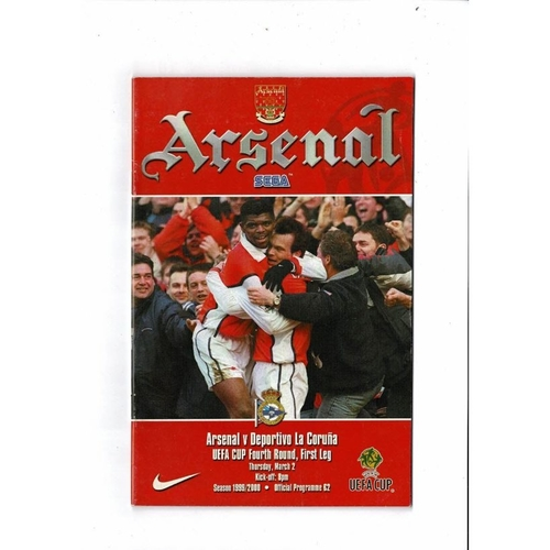 Arsenal v Deportivo la Coruna UEFA Cup Football Programme 1999/00