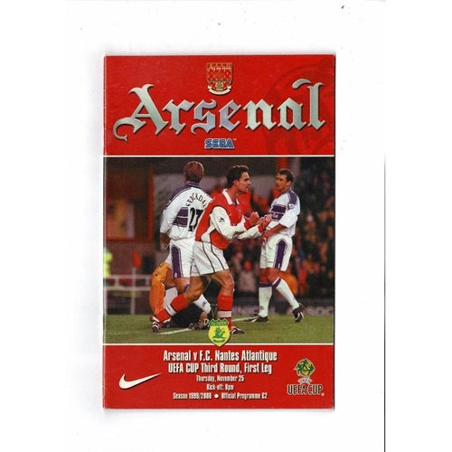 Arsenal v Nantes UEFA Cup Football Programme 1999/00