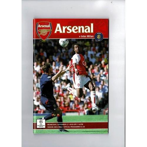 Arsenal v Inter Milan League Champions League Football Programme 2003/04