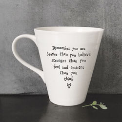 East Of India Boxed Porcelain mug - Remember you are braver