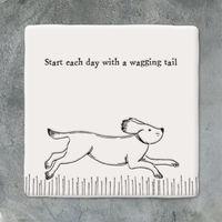 East Of India Sqare Coaster-Running dog
