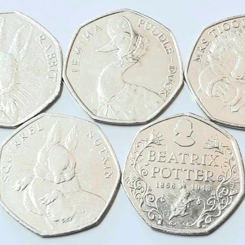 2016 Full Set of Beatrix Potter 50p Coins