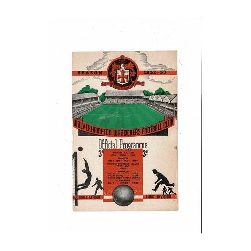 1952/53 Wolves v Manchester United Football Programme