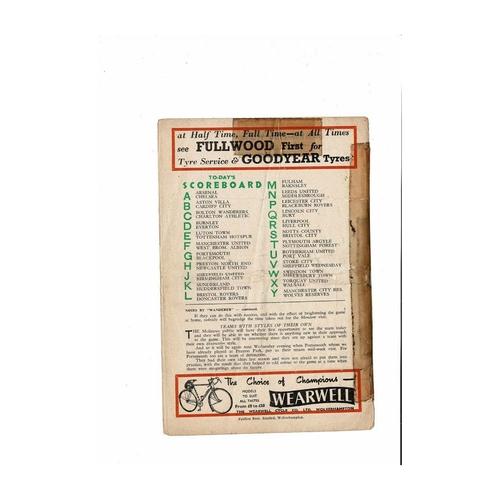 1955/56 Wolves v Manchester City Football Programme