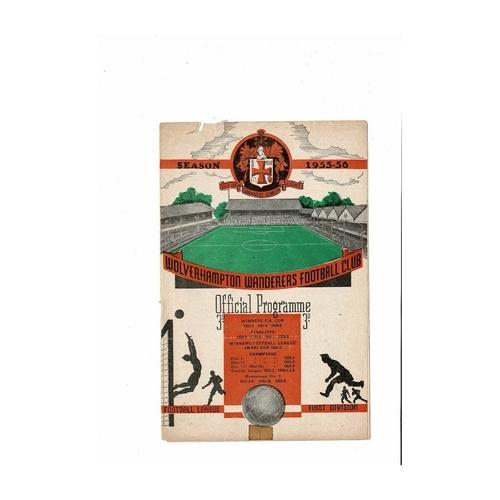 1955/56 Wolves v Manchester United Football Programme