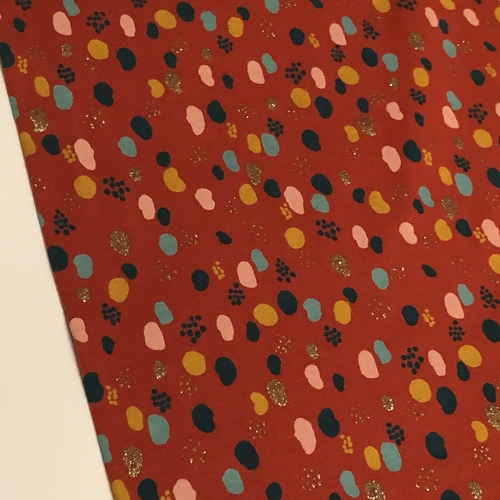 Glitter Splodge Rust Jersey 1.3 metres