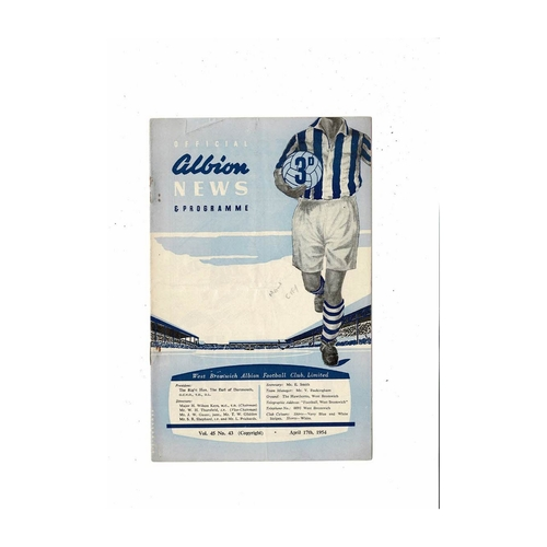 1953/54 West Bromwich Albion v Manchester City Football Programme