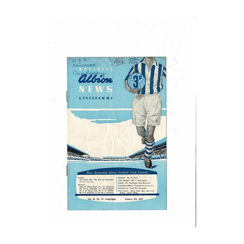 1956/57 West Bromwich Albion v Doncaster Rovers FA Cup Replay Football Programme