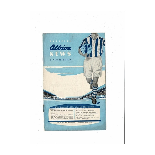 1956/57 West Bromwich Albion v Manchester City Football Programme