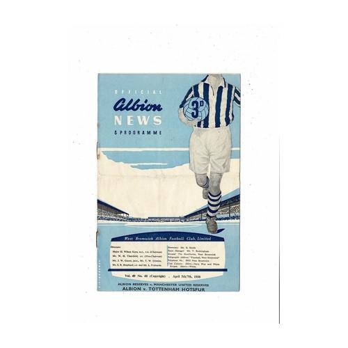 1957/58 West Bromwich Albion v Tottenham Hotspur Football Programme