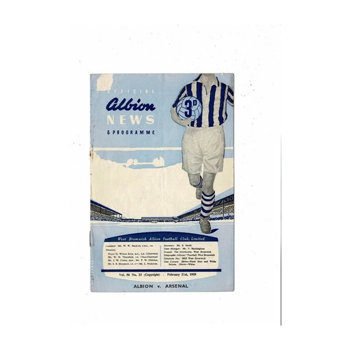 1958/59 West Bromwich Albion v Arsenal Football Programme