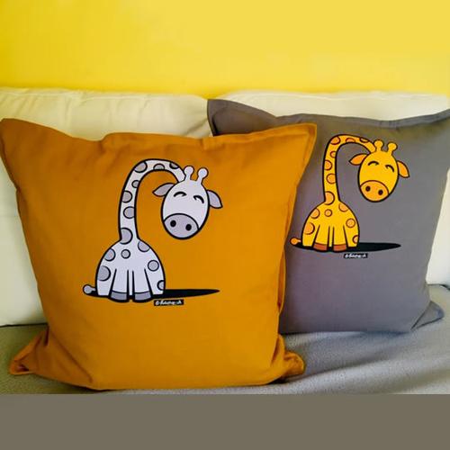 'Grey Sleepy Giraffe' Cushion