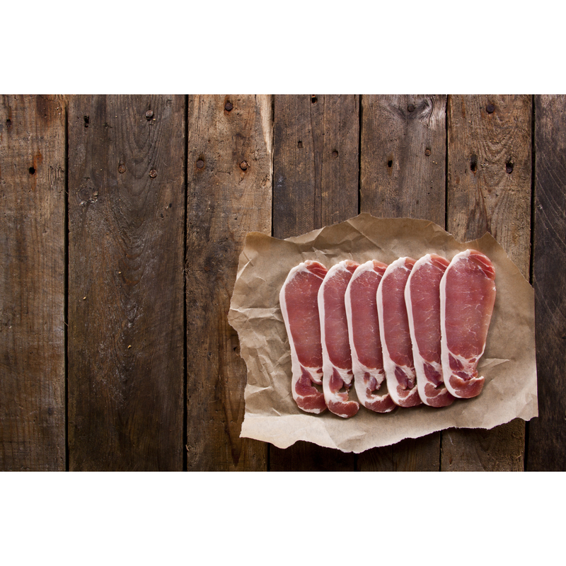 Award Winning Dry Cured Back Bacon (rind on)