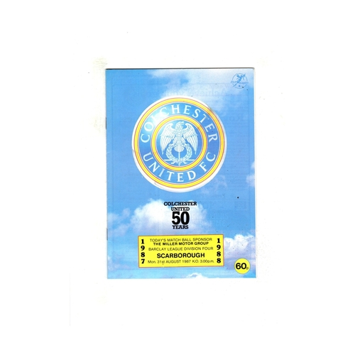 Colchester United Home Football Programmes