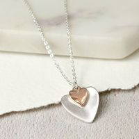 Pom Silver Plated Rose Gold Folded Hearts Necklace