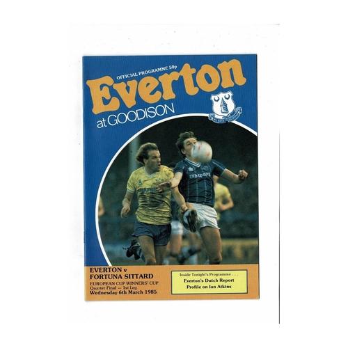 Everton v Fortuna Sittard European Cup Winners Cup Football Programme 1984/85