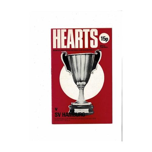 Hearts v Hamburg European Cup Winners Cup Football Programme 1976/77
